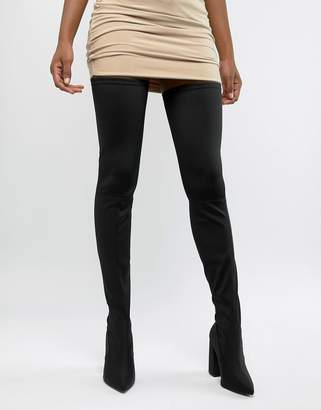 5f693f42a9ff Asos Design DESIGN Kera pointed thigh high boots