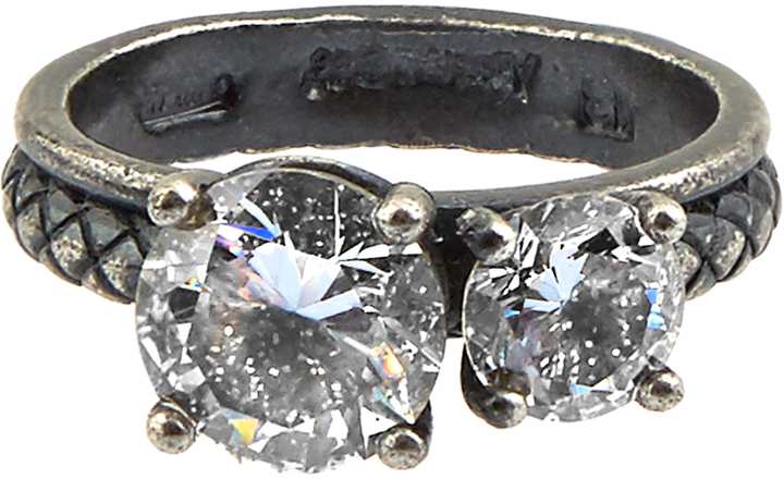 Bottega VenetaBOTTEGA VENETA Double cubic-zirconia and silver ring