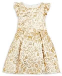 Little Girl's Metallic Floral Brocade Dress