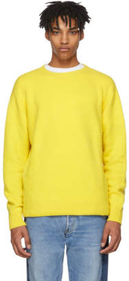 The Elder Statesman Yellow Cashmere Simple Crew Sweater