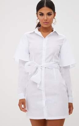 PrettyLittleThing White Double Cuff Tie Waist Shirt Dress