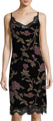 Max Studio Burnout Velvet Lace-Trim Slip Dress