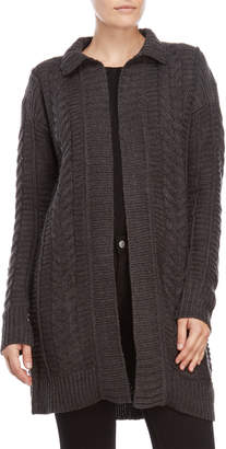 Cable & Gauge Grey Open Longline Cardigan