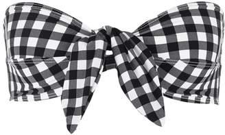 Ephemera Gingham print tie front bandeau top $170 thestylecure.com