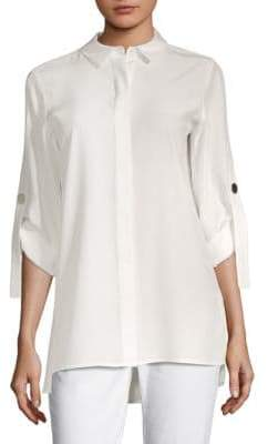 Lafayette 148 New York Jeslyn Roll-Tab Silk Blouse