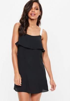Missguided Black Georgette Slip Overlay Shift Dress