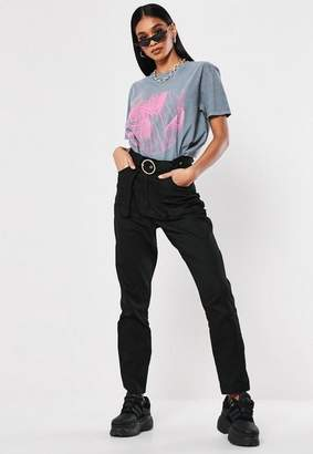 Missguided Tall Black Belted Cargo Pants