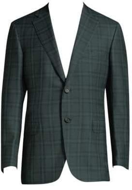 Brioni Men's Plaid Wool Jacket - Dark Green - Size 50 (40) R