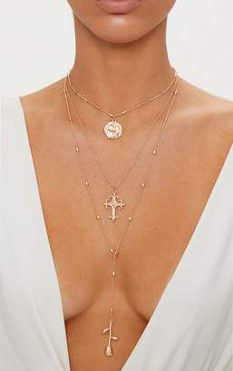 PrettyLittleThing Gold Triple Layer Rose Cross Necklace