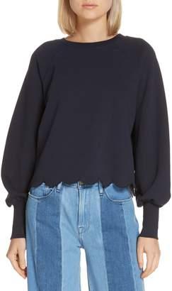 Frame Scallop Hem Puff Sleeve Sweatshirt