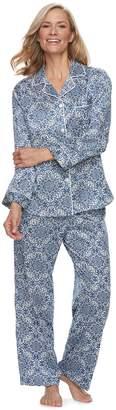 Miss Elaine Petite Essentials Printed Satin Shirt & Pants Pajama Set