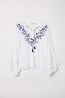 H&M H&M+ Blouse with Embroidery - White