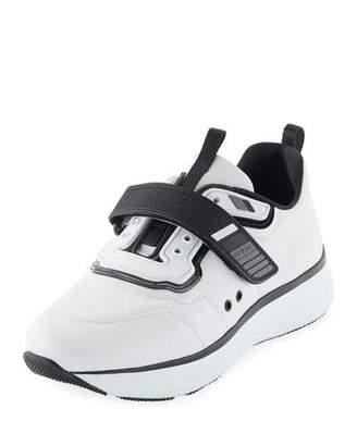 Prada Linea Rossa Leather Grip-Strap Sneakers, White