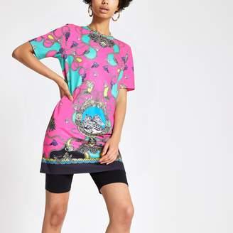 River Island Womens Pink chain print jumbo T-shirt