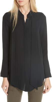 Joie Nadal Tie Neck Silk Blouse