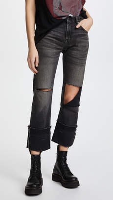 R 13 Bowie Cuff High Rise Straight Jeans