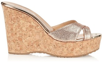 Jimmy Choo PERFUME Nude Glitter Wedge Sandals