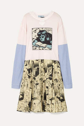 Prada Printed Cotton-jersey And Silk Mini Dress - Ivory