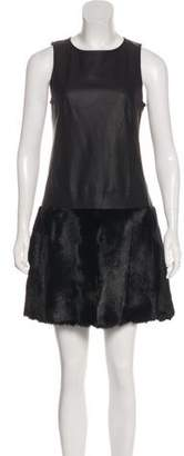 Theory Fur Trim Sleeveless Mini Dress