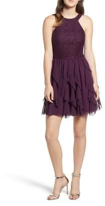 Speechless Glitter Lace & Chiffon Ruffle Party Dress