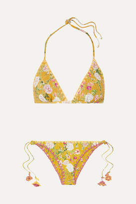 Anjuna - Nina Reversible Crochet-trimmed Printed Triangle Bikini - Chartreuse