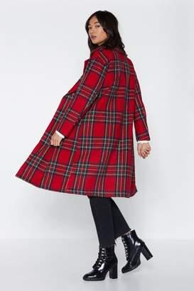 Nasty Gal Tartan Check Wool Look Coat
