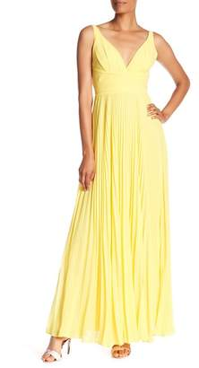 Laundry by Shelli Segal Open Back Pleat Chiffon Gown