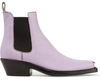 Calvin Klein Claire Metal-trimmed Textured-leather Ankle Boots - Lilac