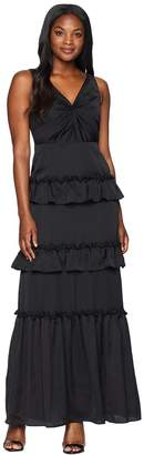 Adrianna Papell V-Neck Ruffle Tiered Gown with Draped Bustline Women's Dress
