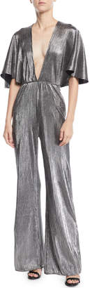 Lovers And Friends Harper Metallic Plisse Jumpsuit