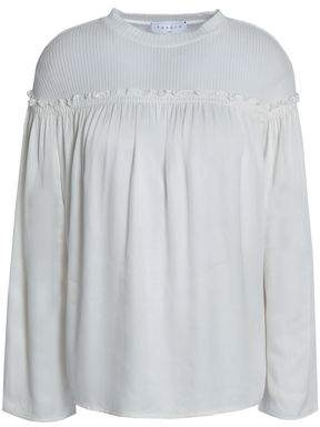 Sandro Ribbed Cotton-Blend And Satin Blouse