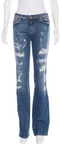 Roberto CavalliRoberto Cavalli Distressed Straight-Leg Jeans