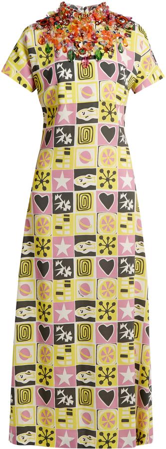 Miu MiuMIU MIU Embellished short-sleeved motif-print crepe gown