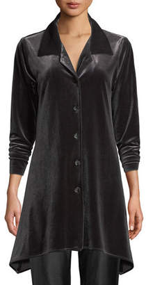 Caroline Rose Button-Front Long-Sleeve Stretch-Velvet Side-Fall Shirt, Petite
