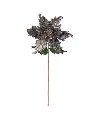 "Vickerman 20"" Silver Glitter Poinsettia 14"" Flower Head 3/Bg"