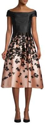 Carmen Marc Valvo Pleated Floral A-Line Dress