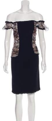 Blumarine Ruched Knee-Length Dress Black Ruched Knee-Length Dress