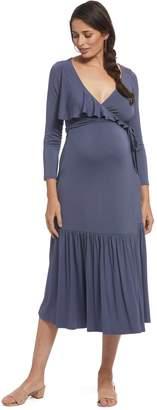 Maternity Nadine Wrap Dress - Slate,