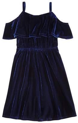 Aqua Girls' Cold-Shoulder Popover Velvet Dress, Big Kid - 100% Exclusive