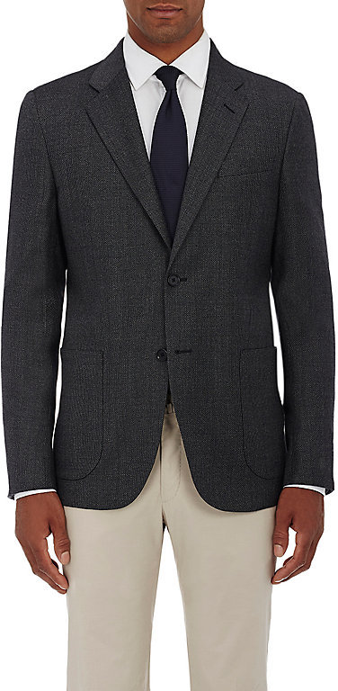 Barneys New YorkBarneys New York BARNEYS NEW YORK MEN'S WOOL-SILK MICRO-CHECKED TWO-BUTTON SPORTCOAT