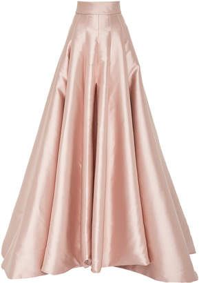 Brandon Maxwell Pleated Satin Maxi Skirt