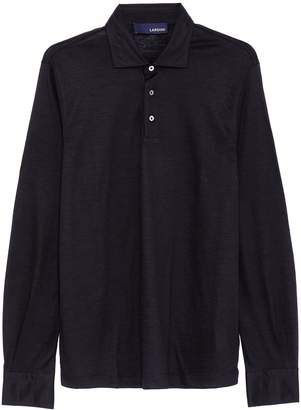 Lardini Wool knit long sleeve polo shirt
