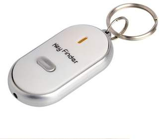 PureAid LED Anti Lost Key Finder KeyChain with Whistle Sound - White