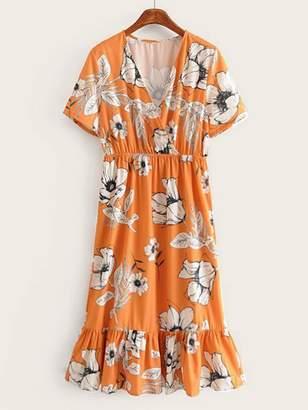 Shein Deep V-neck Surplice Floral Print Ruffle Hem Dress