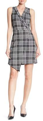 Vanity Room Surplice V-Neck Knit Crepe Asymmetrical Dress