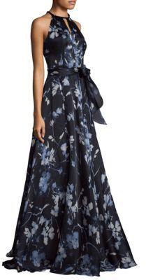 Carmen Marc Valvo Halterneck Printed Ball Gown $1,295 thestylecure.com
