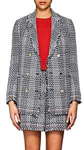 Thom Browne Women's Cotton-Blend Tweed Double-Breasted Blazer - Navy, wht