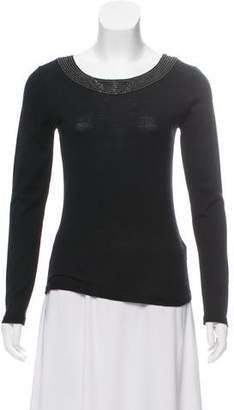Armani Collezioni Embellished Long Sleeve Top