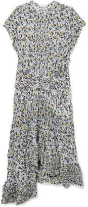 Chloé Ruffle-trimmed Pleated Floral-print Georgette Midi Dress - Blue