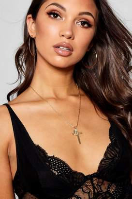 boohoo Katie Cross and Sovereign Pendant Necklace